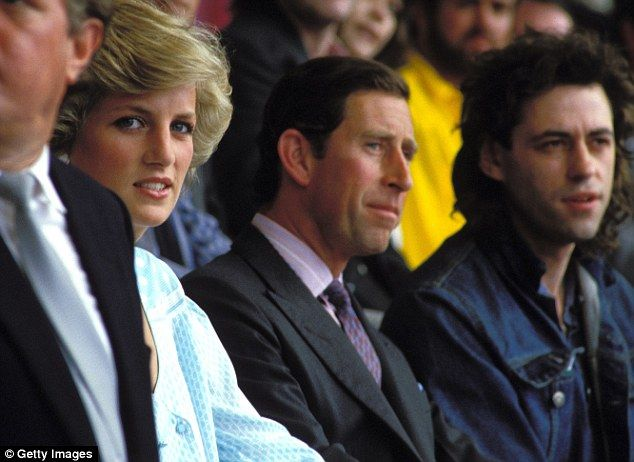 Charles and Diana, pictured in 1985 with Bob Geldof at a Live Aid concert at Wembley Stadium, separated in 1992 before officially divorcing in 1996
