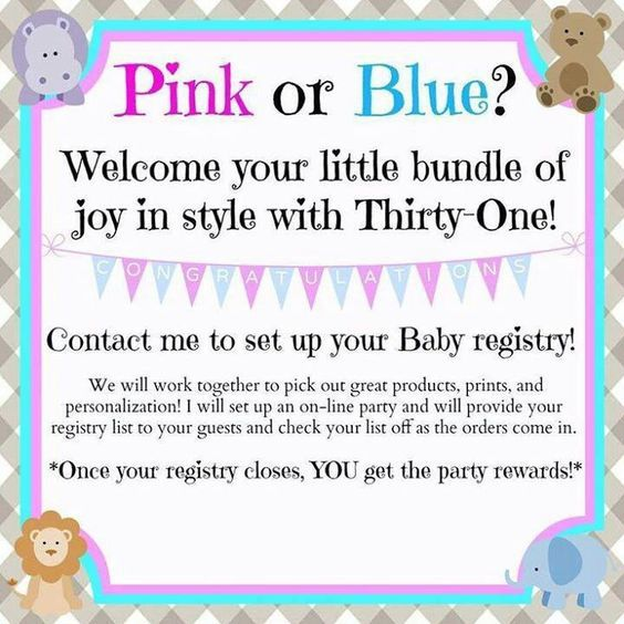 I happen to know of a few gals who are expecting this year! Did you know that you can create a Thirty-One baby registry with me? So exciting! Let's get yours started!!