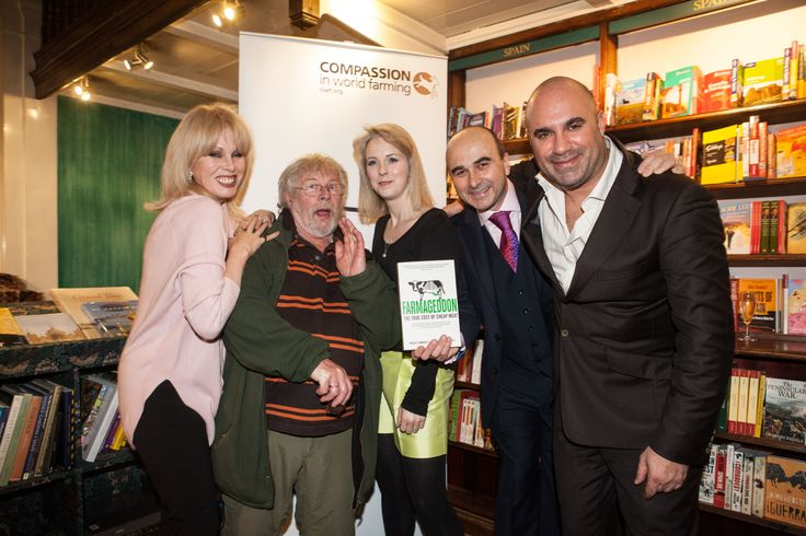 L-R: Joanna Lumley, Bill Oddie, Isabel Oakeshott, Philip Lymbery and Marc Abraham at the launch of Farmageddon on 4th February 2014.