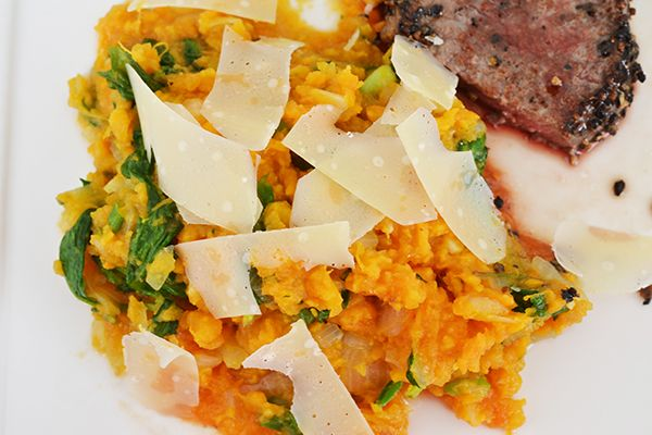 Zoete aardappelstamppot met spinazie en Parmezaan