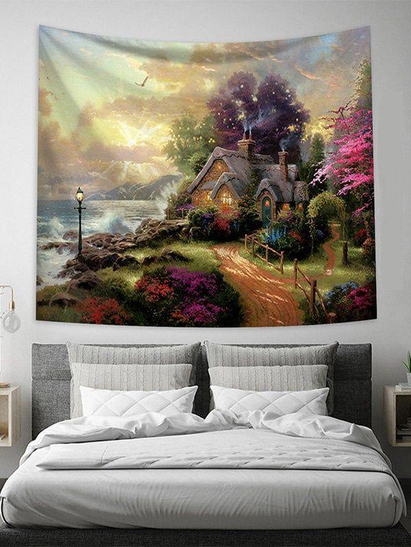 Beauty Cabin Landscape Print Wall Tapestry Beauty Cabin Wall