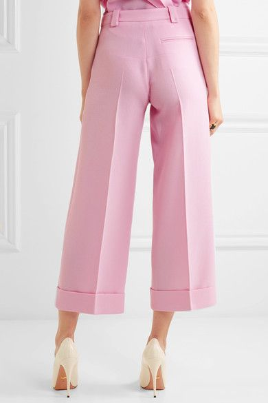Roland Mouret - Rew Cropped Wool-crepe Wide-leg Pants - Pink - UK18