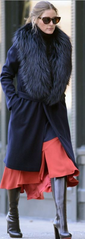 Who made  Olivia Palermo's black coat, red skirt, and leather platform boots that she wore in New York?