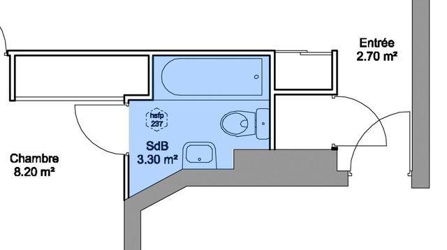 Plan salle de bain plan salle d 39 eau 6 exemples avant apr s - Plan salle d eau 3m2 ...