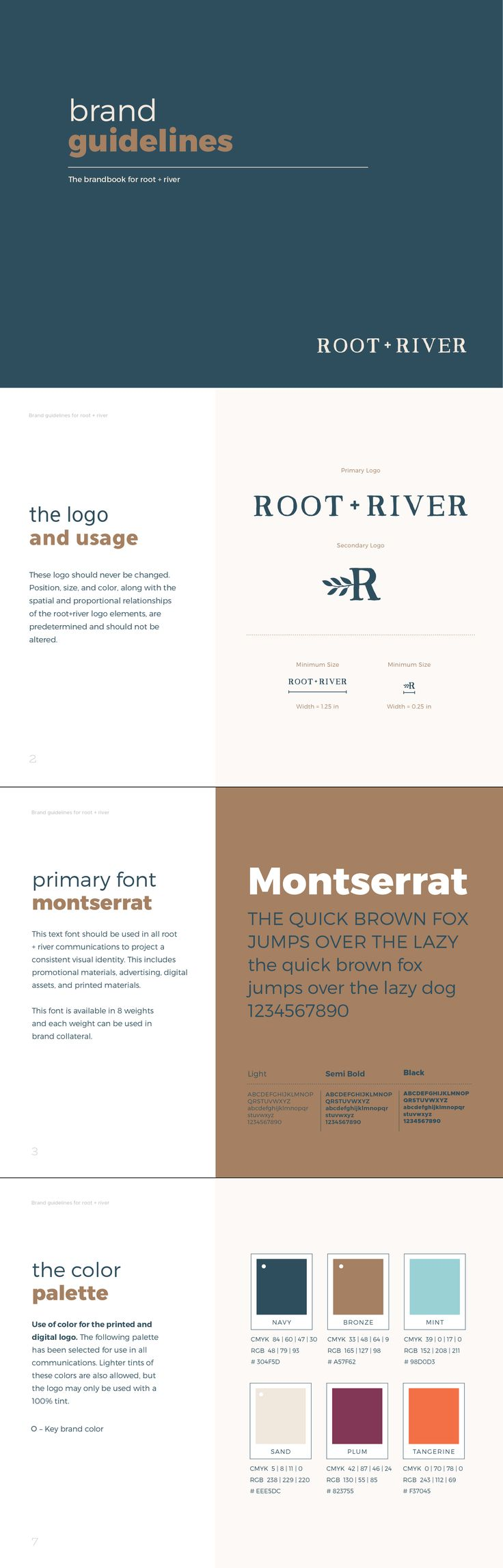 root + river Brand Style Guide example by Pace Creative Design Studio