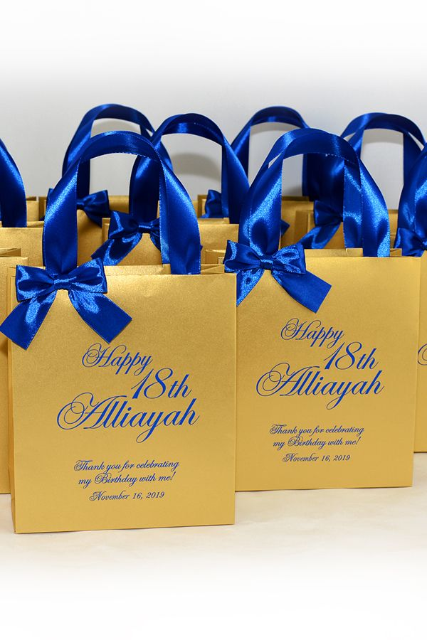 20 Birthday Party Favor Bags With Satin Ribbon Handles Bow And Name Elegant Personalized Royal Blue And Gold Gift Bag For Favor For Guests 20 Birthday Party Birthday Party Favors Gold Party Favors