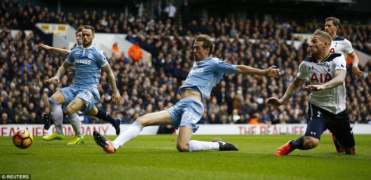 Peter Crouch almost connected with this cross to score for Stoke against his former club, ...