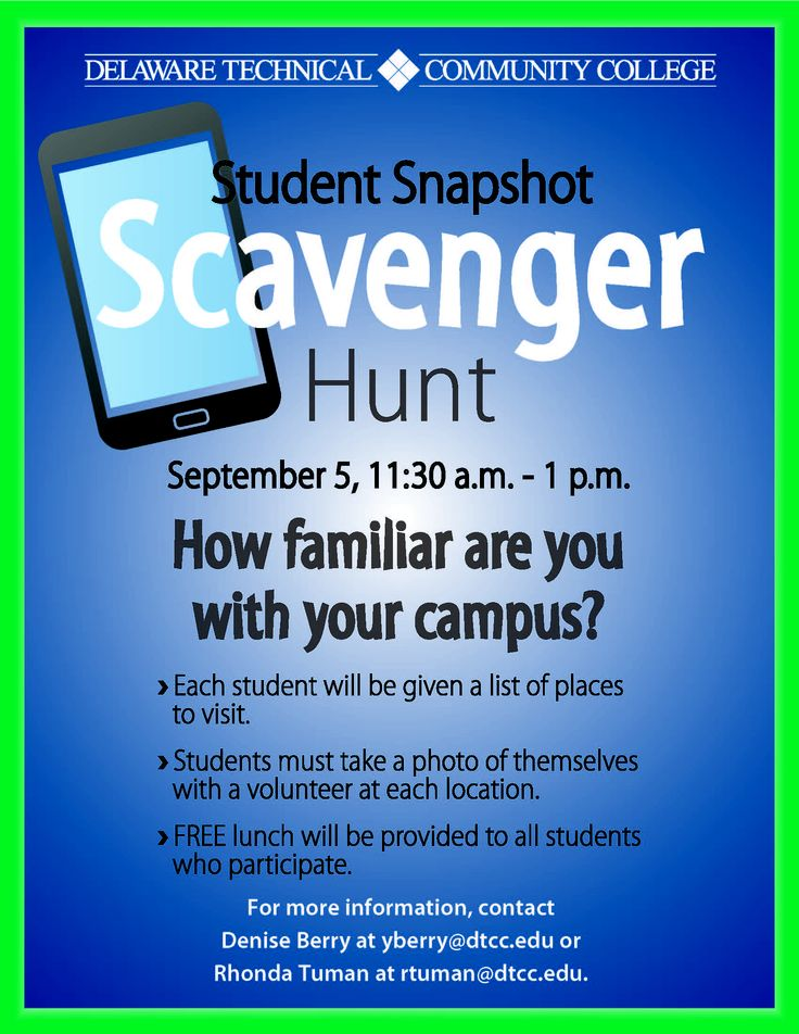 All students are welcome to participate in the Snapshot Scavenger Hunt tomorrow, and enjoy free pizza afterward!