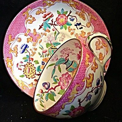 Minton C1891 Pink Sarreguemines Oriental Garden Tea Cup And Saucer in Pottery & Glass, Pottery & China, China & Dinnerware   eBay