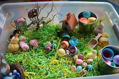 Easter themed sensory bin for children with autism
