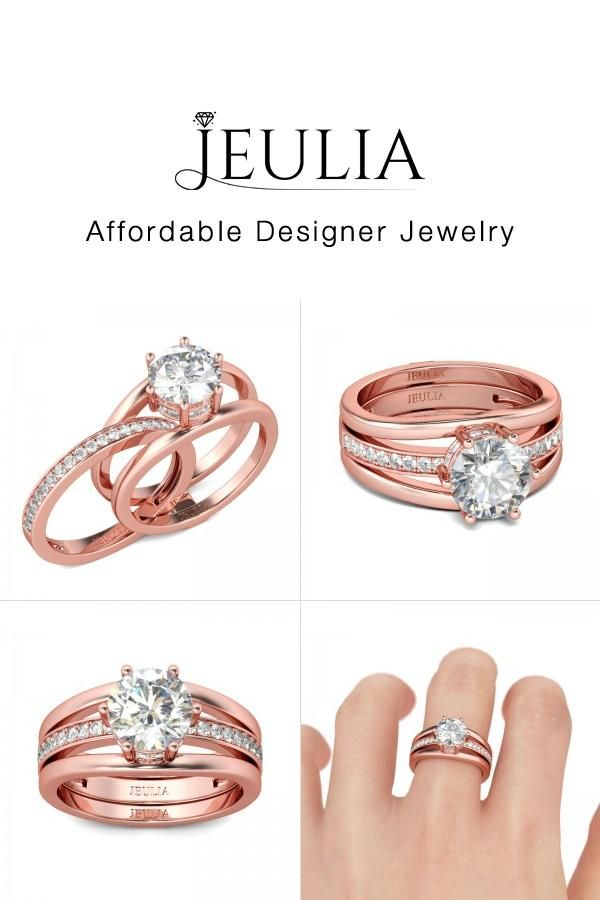 jeulia jeulia changeable rose gold wedding ring set for women round cut discover more - Wedding Ring Shop