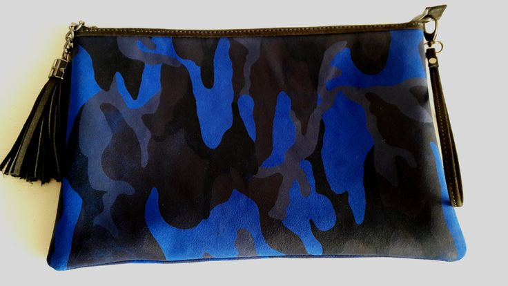 Blue Camouflage Suede Clutch; Suede Clutch; Camouflage Clutch with Tassel; Handmade Clutch by HELIXSIS on Etsy