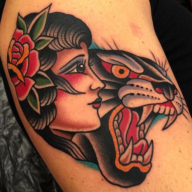 Lady Panther Done Boldwillhold Tattoo Samuelebriganti Traditionaltattoo Tradworkers Tradwork Pantherta In 2020 Tattoos Traditional Tattoo Woman Neck Tattoo