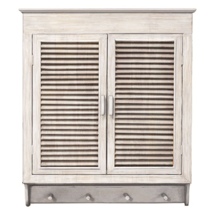 This Elegant Louvered Wall Cabinet Is An Attractive Way To