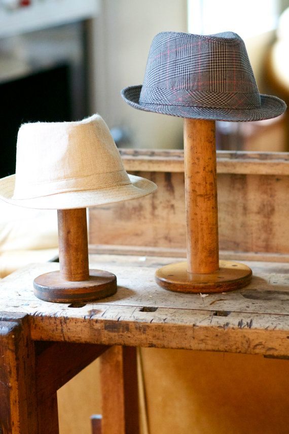 Large Vintage Wooden Spools as hat stands. Kelly G. I have one of these. I can use it to display my French red velvet hat from Cedarburg. MoM