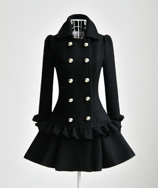Elegant Lotus Trimming Double-breasted Wool Coat: Made of wool, wearable for Fall and winter.  Lotus trimming. Above knee length. Double lutos trimming cuff. $119.00