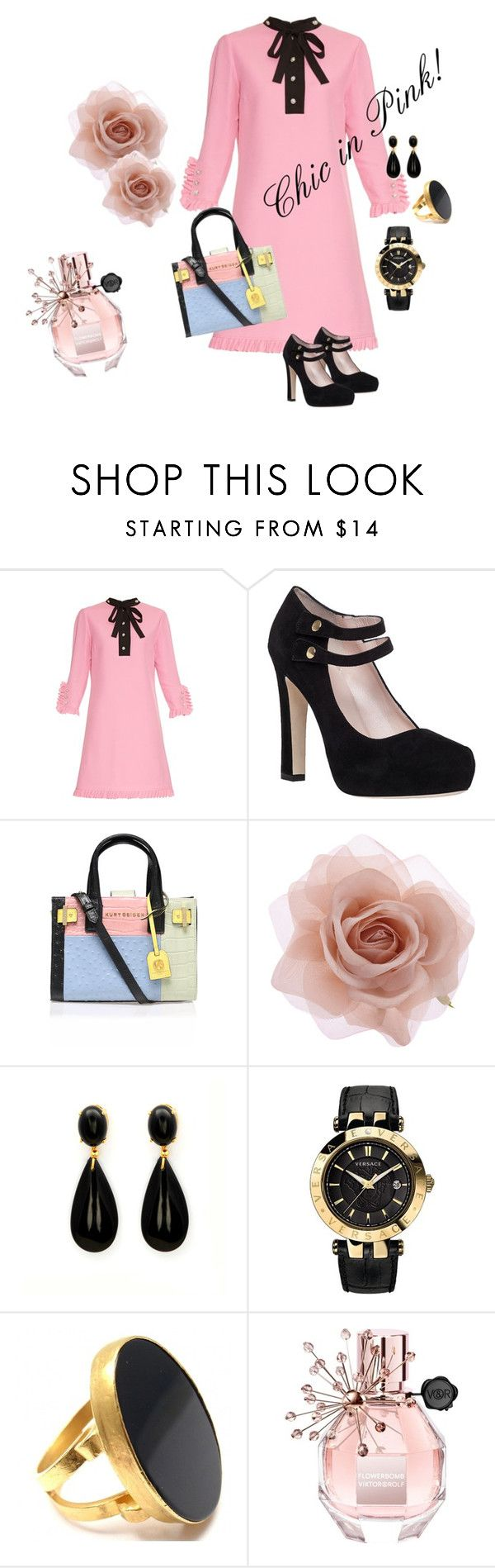 """Chic in Pink!"" by marialibra on Polyvore featuring Gucci, Kate Spade, Kurt Geiger, Accessorize, Versace, Yossi Harari, Viktor & Rolf, women's clothing, women and female"