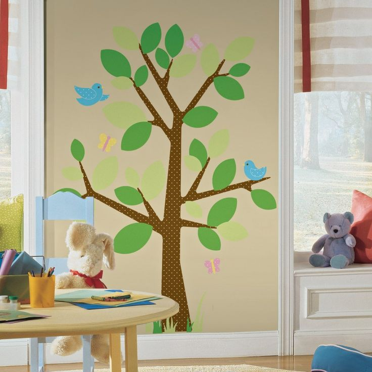 Sunday School Room Murals | Lovely Tree Decal And Cute Dolls Decoration For  Kids Playroom Design Part 50
