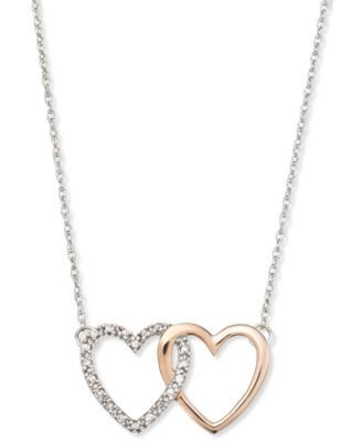 14k White and Rose Gold Necklace, Diamond Accent Double Heart Interlocking Pendant - Necklaces - Jewelry & Watches - Macy's