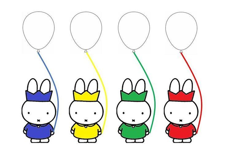 Kleur de ballon in dezelfde kleur als nijntje Verjaardag