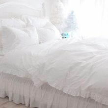 Новый полный белый с оборками постельных принадлежностей класса люкс принцесса постельное белье сатин дрель хлопок пододеяльник элегантный покрывало простыня(China (Mainland))