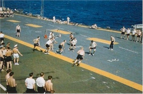 Hockey game on HMCS Bonaventure. R & R RCN style, just don't shoot puck too far out of bounds. :)