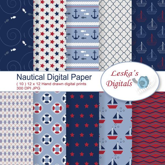 Nautical digital paper: NAUTICAL background by DigitalWork on Etsy