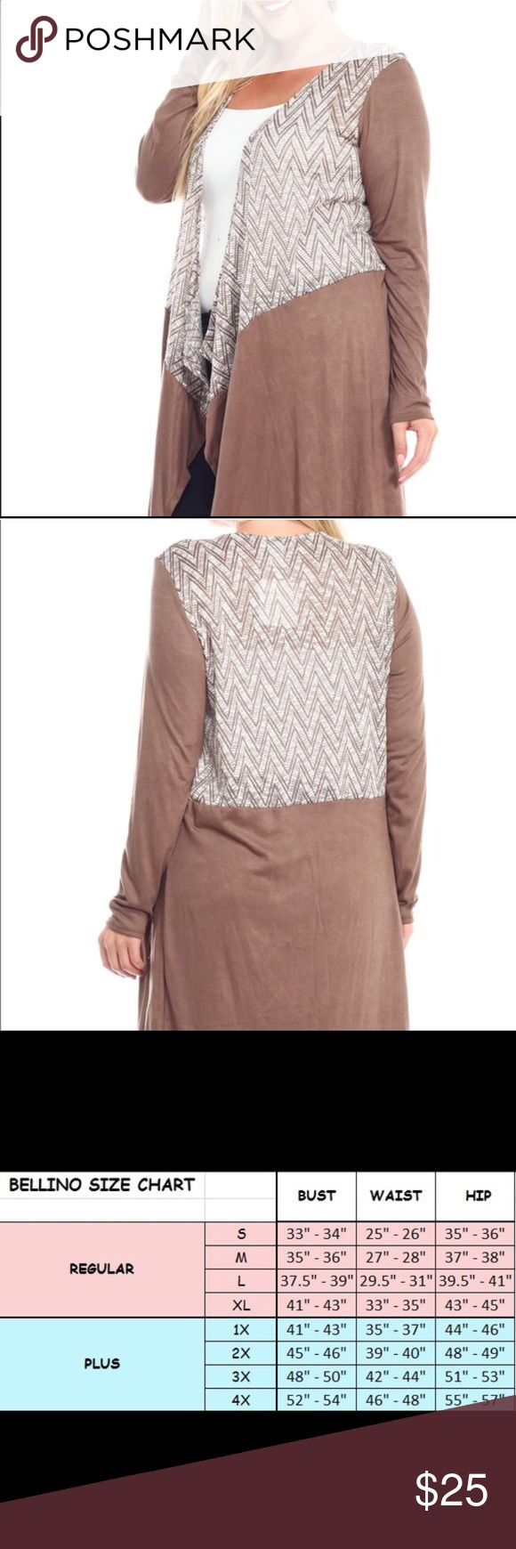 SALE ❗️Plus Size Bellino Zig Zag Cardigan This is a gorgeous and soft plus size Bellino cardigan/duster. It is tan and white. It's new with tags. Made 53% polyester, 43% rayon,4% spandex. Multiple sizes available. Bellino Clothing Sweaters Cardigans