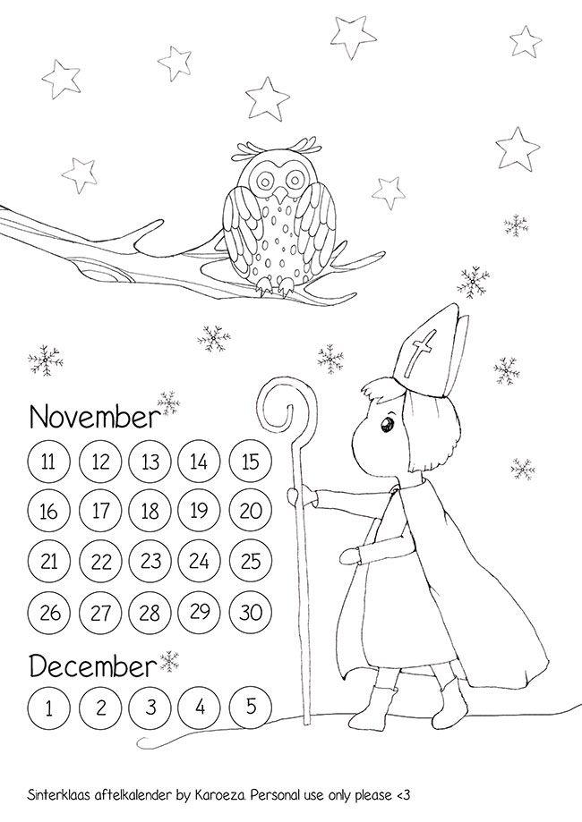 sinterklaas aftelkalender werkblad kleur de kleurplaat