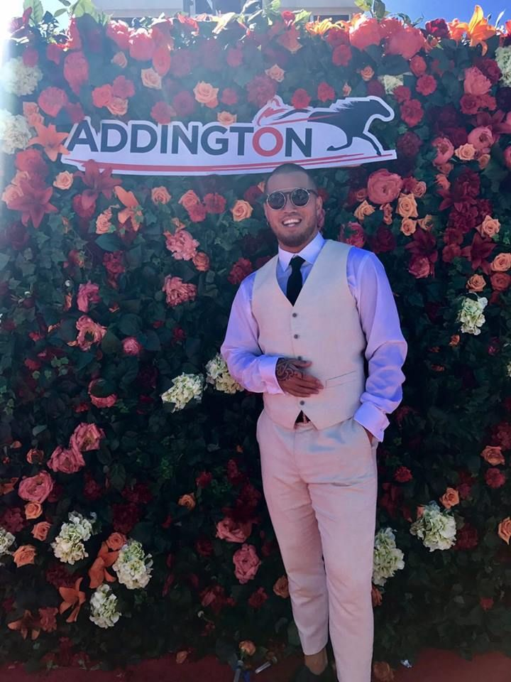 Stan Walker at the Social Media Flower Wall at Addington Raceway