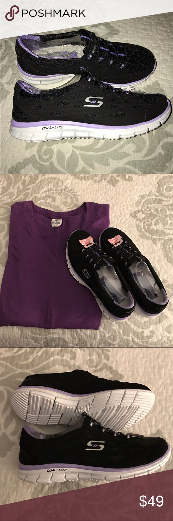 Sketchers Dual-Lite Memory foam sneakers Size-7 👟 NWOB Sketchers Dual-Lite , Memory foam Sneakers in the colors- Black / Purple, sneakers have been tried on 1 x and still have shoe form in side them, from a smoke free home. Skechers Shoes Sneakers