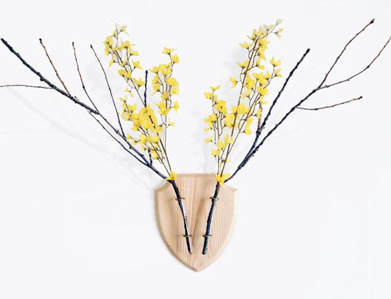 Eco Deer is a wooden trophy board for home decor with 2 tube vases for flowers and branches. Just put your favorite flowers or branches to it and Eco