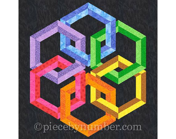 Hexadaisy may look complex, but its made up of very easy-to-sew foundation units. Make the hexagon rings of 2, 4, or 6 different colors, using two shades of each main color to create a dimensional effect. It makes a spectacular celtic knot-style medallion for a wall hanging, baby quilt, or sofa throw. The Hexadaisy hexagon quilt pattern contains clearly labeled paper piecing sections and complete assembly instructions. The pattern pieces as given make a 24 inch and 60 cm medallion. Easily…