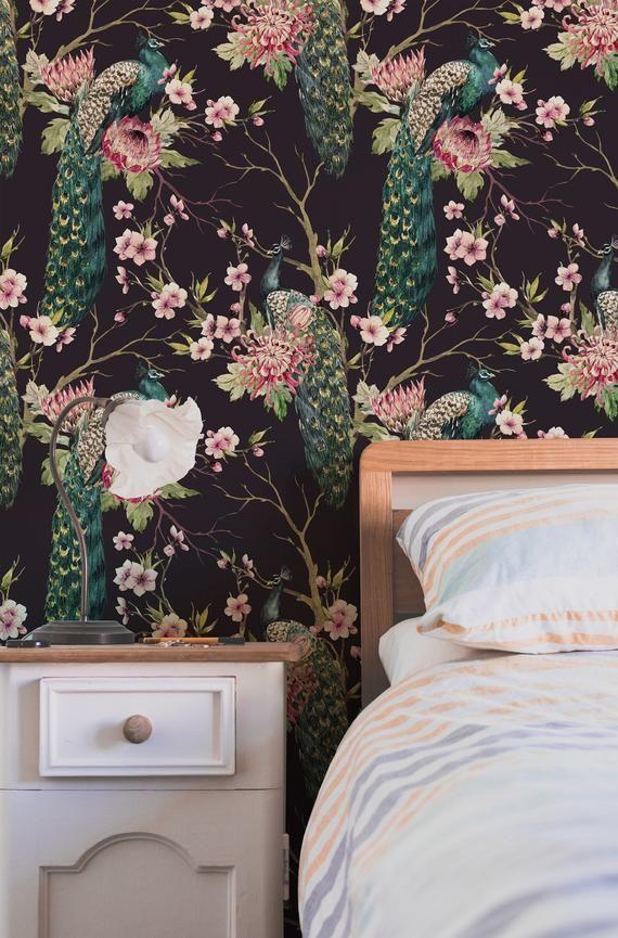Dark Bird Dark Bird Removable Sticer Peel And Stick Etsy Removable Wallpaper Wallpaper Trends Self Adhesive Wallpaper