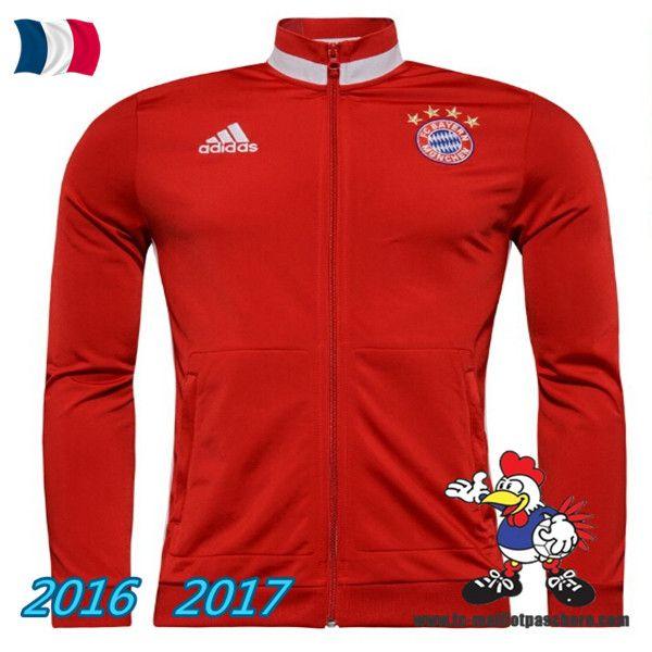 Les Nouveaux Veste Foot Bayern Munich Rouge Col rond 2016/2017 Pas Cher