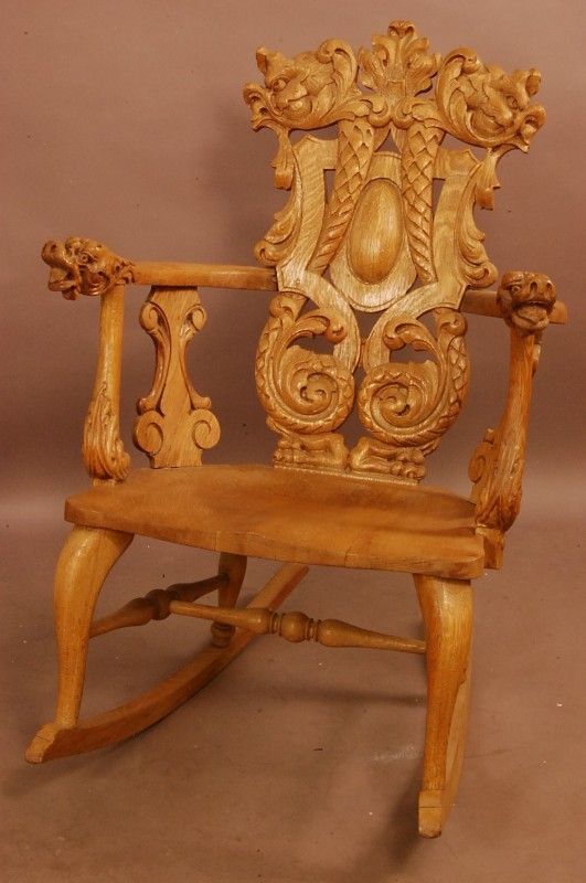 Turn Of The Century Heavily Carved Rocker With Dragons