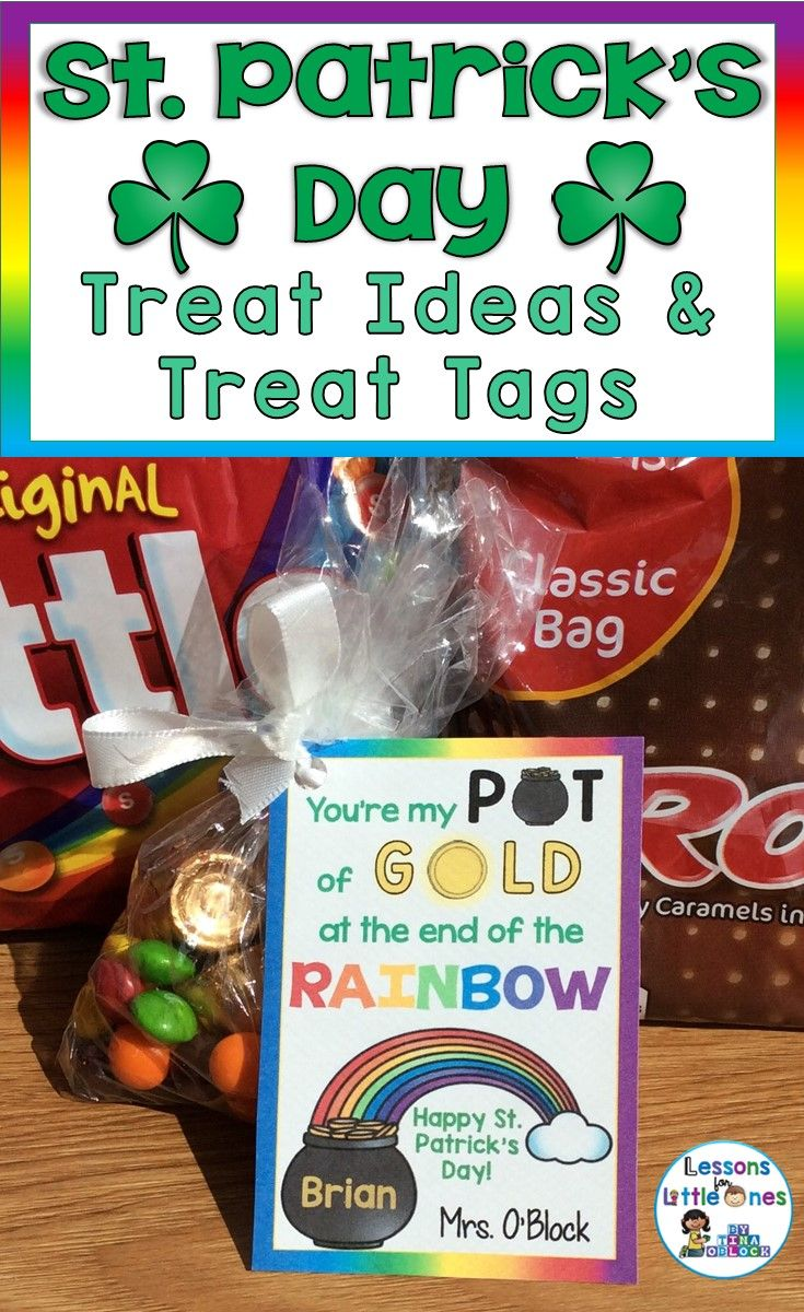 Ideas for St. Patrick's Day student treats and snacks as well as St. Patrick's Day student gift tags & treat bag toppers. Saint Patrick's Day treats for students.
