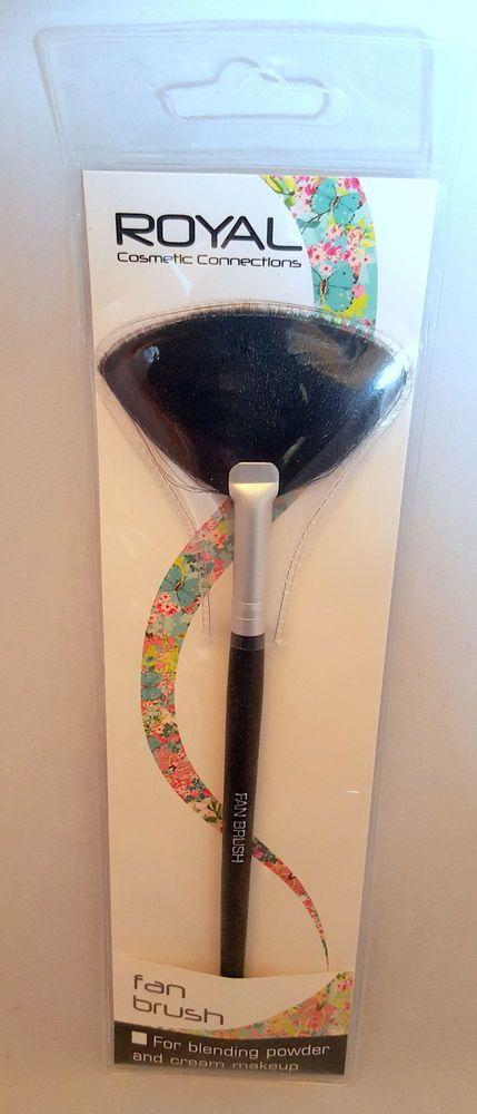 #02 ROYAL Cosmetic FAN Applicator Make up Brush Blending Cream & Powder Makeup