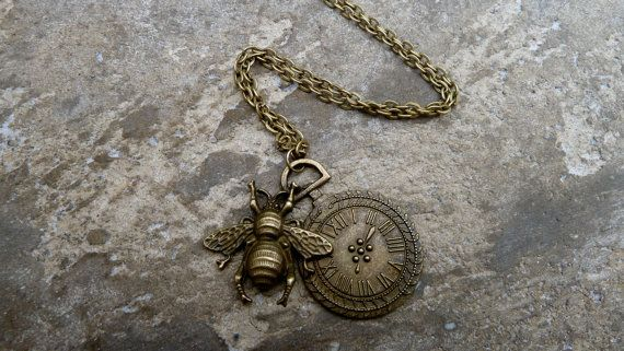 Bee and Sundial Necklace.