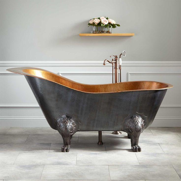 """72"""" Lena Cast Iron Clawfoot Tub - Monarch Imperial Feet - Dark Gray - Bathroom"""