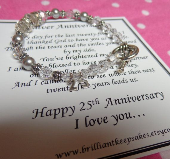 25th Wedding Silver Anniversary Gift For Wife Sterling Silver