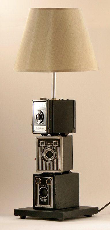 vintage kodak camera stack lamp by leeannsvintagedecor on Etsy, $199.00
