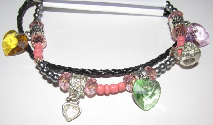 A Love Heart Charm Bracelet with Coloured Crystal charms and Silver Charms Perfect Present for any little Girl