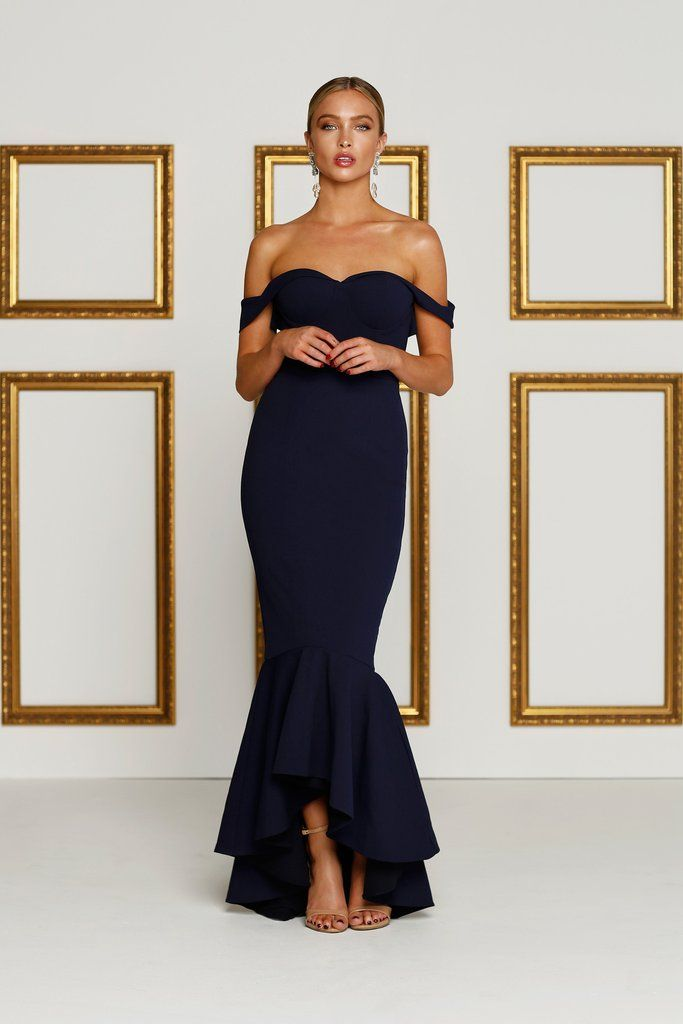 Alamour The Label - Sapphire Off Shoulder Gown