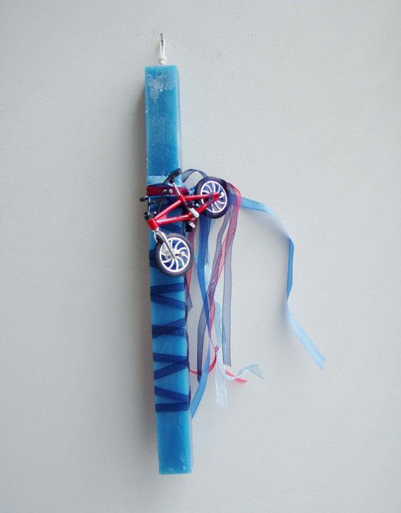 Greek Easter candle with red bike blue by ArktosCollectibles, $24.50