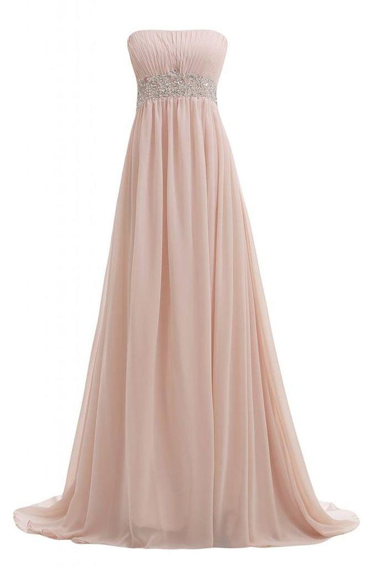 Sunvary Elegant Neu Traegerlos Chiffon Lang Steine Abendkleid Ballkleider: Amazon.de: Bekleidung