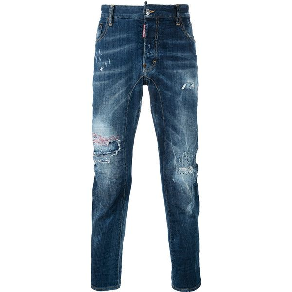 Dsquared2 distressed jeans ($690) ❤ liked on Polyvore featuring men's fashion, men's clothing, men's jeans, blue, mens button fly jeans, mens distressed jeans, mens ripped jeans, mens destroyed jeans and mens blue ripped jeans