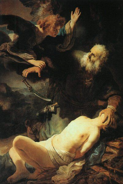Rembrandt Harmensz. van Rijn 1606 – 1669 The Angel Prevents the Sacrifice of Isaac oil on canvas (193 × 133 cm) — 1635 Hermitage, St. Petersburg Rembrandt Harmensz. van Rijn biography This work is linked to Genesis 22:10
