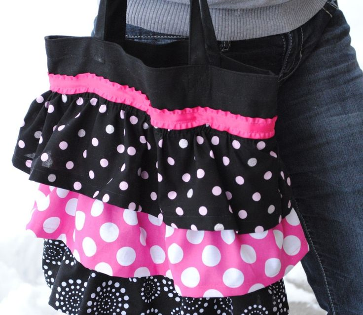 Ruffle Tote Bag Tutorial - cute for kids library bag