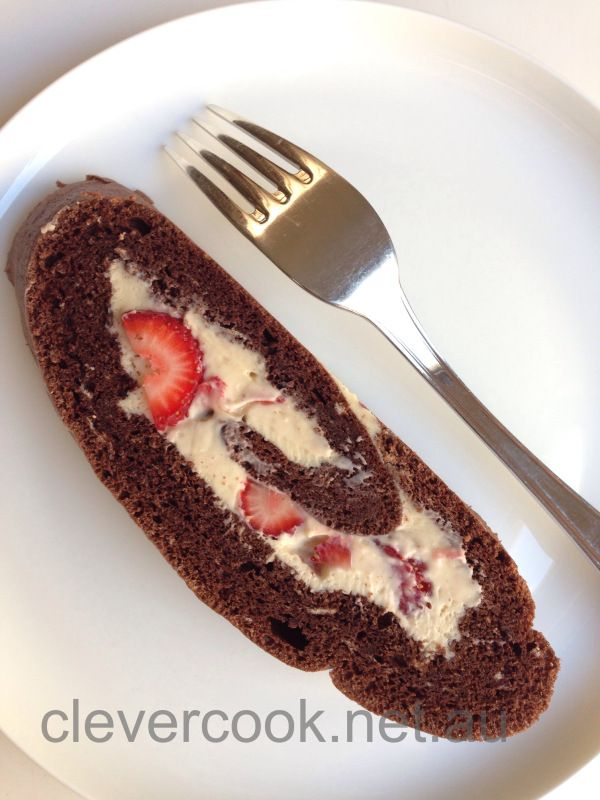 Chocolate & Strawberry Roulade.